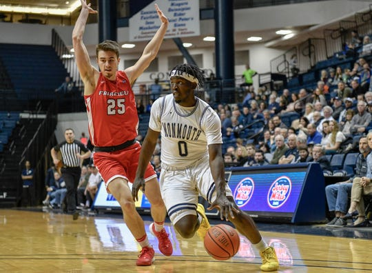 Monmouth guard Ray Salnave drives to the basket for two of his career-high 34 points on Wednesday night against Fairfield at OceanFirst Bank Center in West Long Branch.