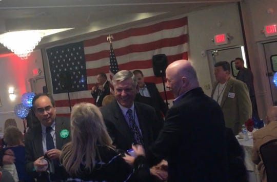 Former Ocean County Republican Chairman George R. Gilmore makes a surprise appearance at the organization's convention in Toms River on March 4, 2020.