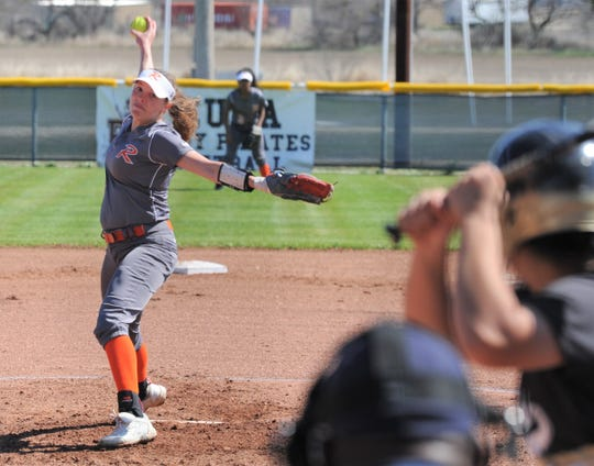 Rotan senior pitcher Ryleigh Denton delivers a pitch against the Abilene High JV in the Eula tournament Thursday at Eula High School