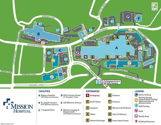 Map of Mission Hospital entrances and parking