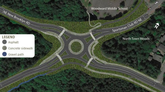 A view of the roundabout that's been proposed at the Sportsman Club Road-New Brooklyn Road intersection on Bainbridge Island.