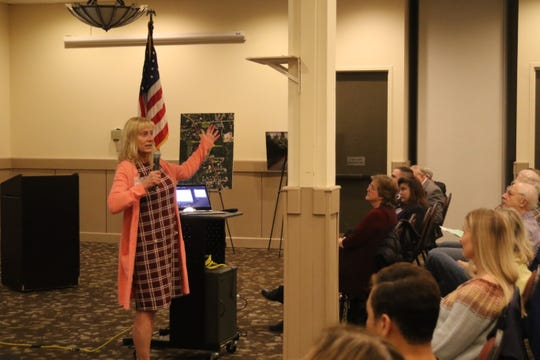 Kitsap Health Officer Susan Turner discussing the novel coronavirus at a community meeting on Wednesday, March 4.