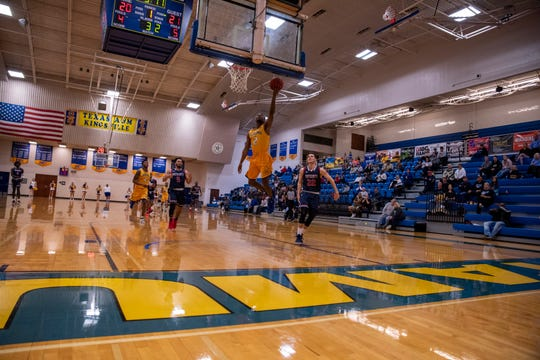 Texas A&M-Kingsville sophomore and West Oso grad Creighton Avery goes up for a basket against Dallas Baptist earlier this season at the Steinke Physical Education Center in Kingsville, Texas.