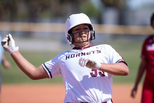 Flour Bluff's Jade Moreno rounds the bases in the game against Ray during the Miras Bayfront Bash softball tournament on Thursday, March 5, 2020 at Ray High School.