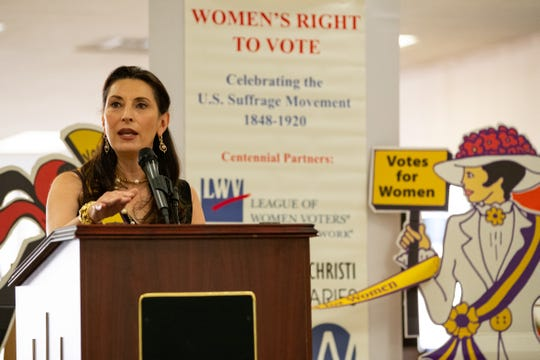 Nueces County Judge Barbara Canales speaks during the unveiling of the League of Women Voters of Corpus Christi's history of women and voting display in the Nueces County Courthouse on Thursday, March 5, 2020.