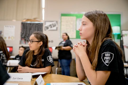 Oak Park Elementary School students Zuri Garza, 10, left, and Amerie Hatfield, 11, participate in the BullyProof Project created by Sgt. Janelle Cantu with the Corpus Christi Independent School District Police Department on Thursday, March 5, 2020. Cantu began the program four years ago and is in the process of expanding it.