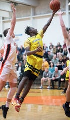 Lindenwold's Eriq Campbell puts up a shot during the South Jersey Group 1 boys basketball quarterfinal playoff game between Lindenwold and Pitman, played at Pitman High School on Wednesday, March 4, 2020.  Lindenwold defeated Pitman, 49-42.
