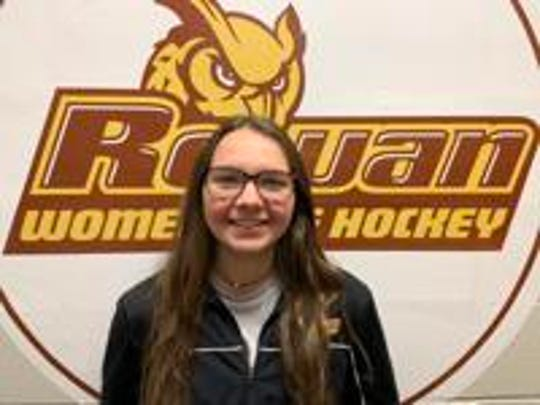 Rowan women's ice hockey junior goalkeeper Emily Render of Nutley is 12-0 with 213 saves. Teams have only scored 15 goals scored against her.