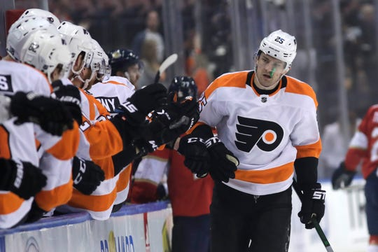 James van Riemsdyk left Wednesday night's game in the first period when he blocked a shot by Jonas Siegenthaler with his right hand.