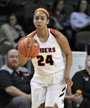 Ryle senior Jaiden Douthit scored 13 points as Ryle defeated Holy Cross 61-39 in a Ninth Region girls basketball quarterfinal March 4, 2020, at BB&T Arena, Highland Heights, Ky.