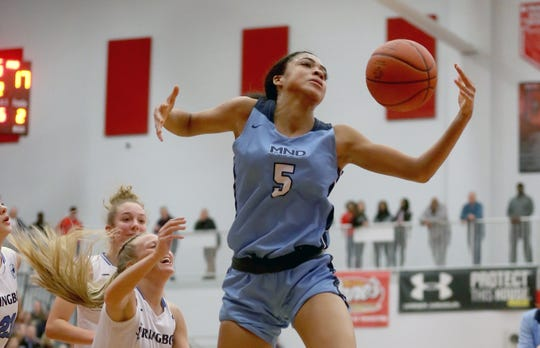 Mount Notre Dame's Laila Phelia (5) grabs a rebound during their regional semifinal Wednesday, March, 4, 2020.