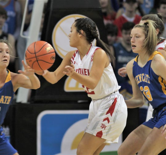 Dixie Heights junior Sydney Lockard looks for an opening as Dixie Heights defeated Newport Central Catholic 54-52 in the KHSAA Ninth Region girls basketball quarterfinals March 4, 2020 at BB&T Arena, Highland Heights, Ky.