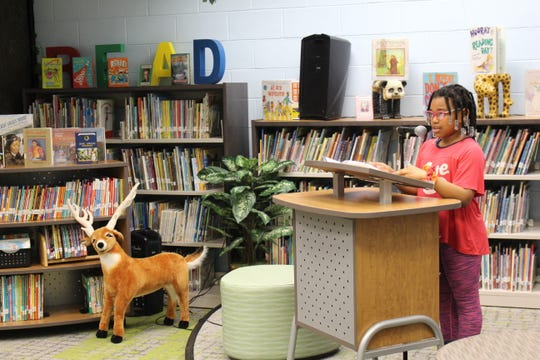 Harlow Jenkins, grade 3 Woodland student, had the crowd in stitches as she performed during the Expressive Reading presentation at the Board of Education meeting on Monday, Feb. 24.