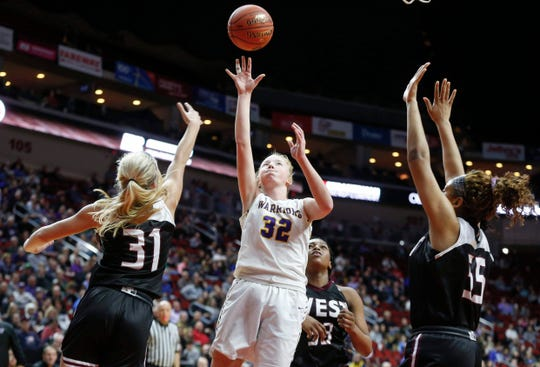 Waukee sophomore Reagan Bartholomew runs up a shot against Waterloo West during the Iowa high school girls basketball state tournament at Wells Fargo Arena in Des Moines on Thursday, March 5, 2020.