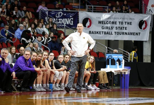 Johnston head girls basketball coach Chad Jilek watches as his defense pressures Iowa City High during the Iowa high school girls basketball state tournament at Wells Fargo Arena in Des Moines on Thursday, March 5, 2020.