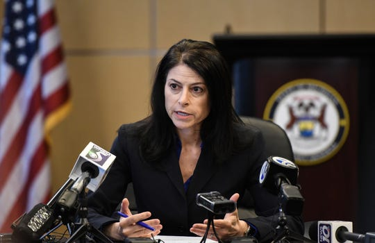 Michigan Attorney General Dana Nessel addresses the media during a news conference, Thursday, March 5, 2020, in Lansing, Mich. She said her office will not consider a request from the University of Michigan to investigate sexual assault allegations against Dr. Robert E. Anderson unless they waive all privileges.