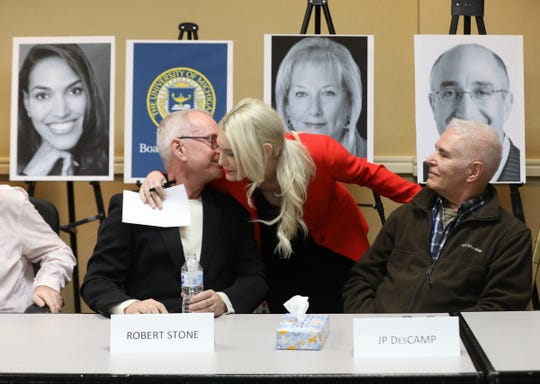 Robert Stone, who was allegedly sexually abused by Dr. Robert Anderson at the University of Michigan in the 1970s, gets a reassuring hug from lawyer Sarah Klein, herself a victim of Larry Nassar at Michigan State, right after a press conference at the Ann Arbor Marriott Ypsilanti at Eagle Creek in Ypsilanti, Michigan on Thursday, March 5, 2020.