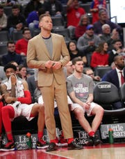 Injured Detroit Pistons forward Blake Griffin on the bench during the game against the Oklahoma City Thunder, Wednesday, March 4, 2020 at Little Caesars Arena.