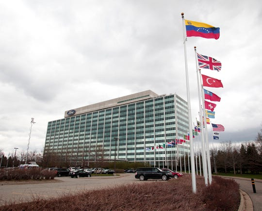The Ford Motor Company world headquarters building is shown May 1, 2014 in Dearborn, Michigan.