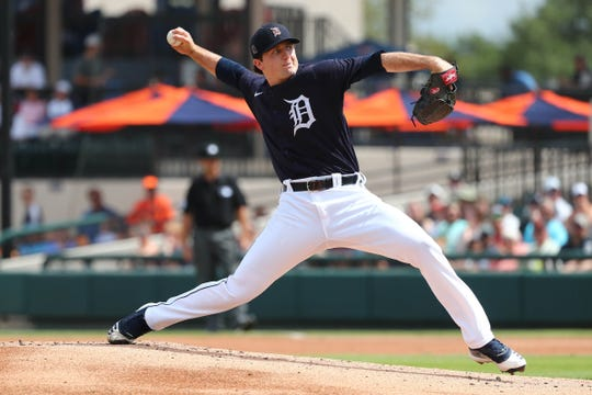 Tigers pitcher Casey Mize throws a pitch during the first inning against the Yankees on Thursday, March 5, 2020, at Publix Field at Joker Marchant Stadium.
