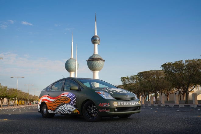 The PriuSRT8 in front of the Kuwait Towers in Kuwait.