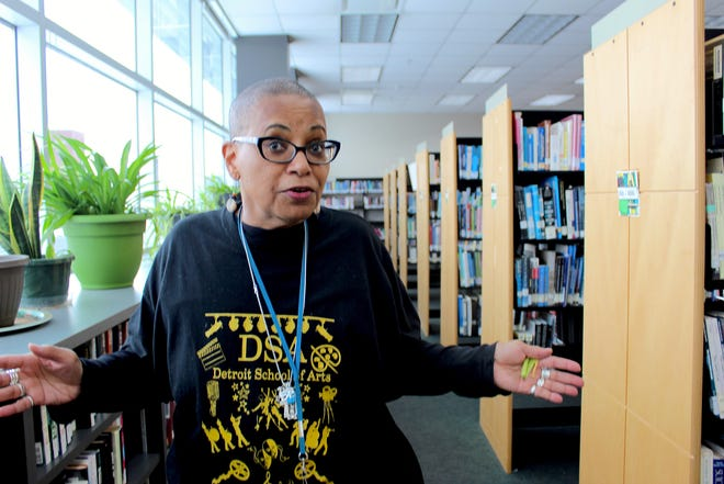 Karen Lemmons in her library at Detroit School of Arts.