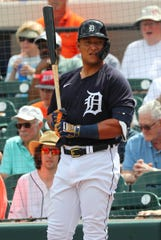 Tigers designated hitter Miguel Cabrera on deck to bat during the first inning against the Yankees on March 5, 2020, at Joker Marchant Stadium in Lakeland, Fla.