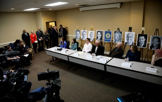 Accusers of Larry Nassar of Michigan State University and of Dr. Robert Anderson of the University of Michigan talk to the media during a news conference in March.