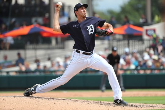 Tigers pitcher Alex Faedo throws a pitch during the third inning against the New York Yankees in the 15-11 exhibition win on Thursday, March 5, 2020, at Publix Field at Joker Marchant Stadium.