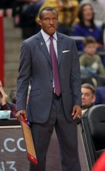 Detroit Pistons head coach Dwane Casey during action against the Oklahoma City Thunder Wednesday, March 4, 2020 at Little Caesars Arena in Detroit, Mich.