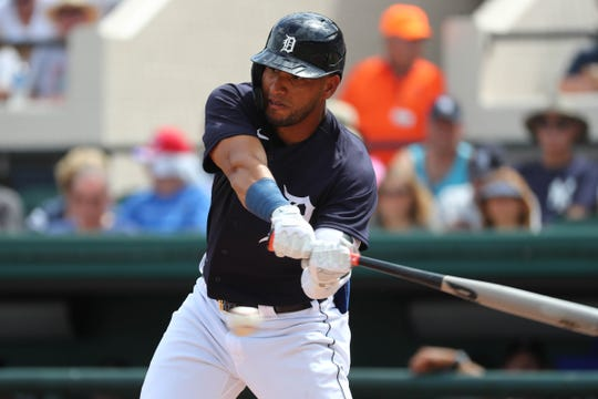 Tigers center fielder Victor Reyes doubles during the first inning against the Yankees on Thursday, March 5, 2020, at Publix Field at Joker Marchant Stadium.