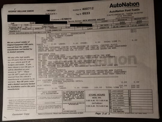 George Simon of Tustin, Calif., says his Ford Focus is often having problems with the clutch, jerking, not moving when in gear. This is one of his repair bills that documents a transmission issue.