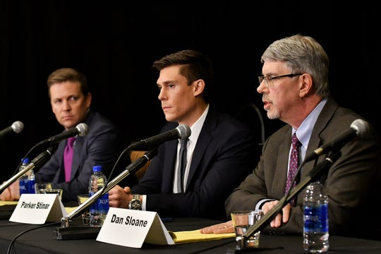Attorneys (from left) Michael Nimmo, Parker Stinar and Dan Sloane hold a press conference regarding alleged sexual abuse claims by their clients against former University of Michigan doctor Robert E. Anderson.