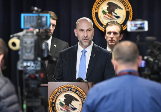 Steven D'Antuono, Special Agent in Charge of Detroit, addresses the media during the announcement of charges against Gary Jones, former president of the International United Auto Workers Union in Detroit Michigan on March 5, 2020.