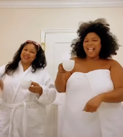 Singer Lizzo, right, dances with her mom, Shari Johnson-Jefferson on Instagram