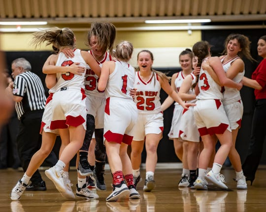 The Port Huron girls celebrate their victory at the end of the district semifinal game against LÕAnse Creuse North.