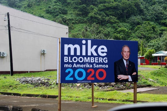In this Feb. 27, 2020 photo, a sign for the Mike Bloomberg campaign is shown in the village of Nu'uuli, near Pago Pago, American Samoa.