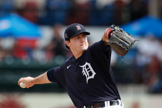 Tigers top prospect Casey Mize throws during a spring training game against the New York Yankees on March 5, 2020, in Lakeland, Fla.