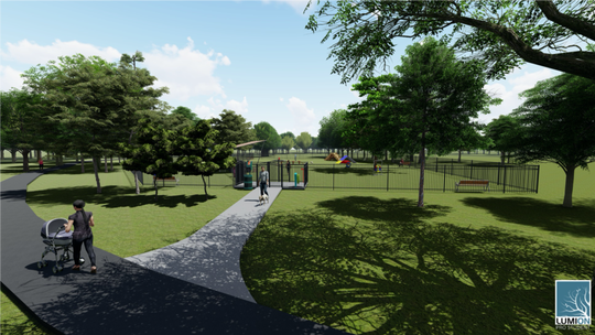 Rendering of a proposed dog park in Friedman Park in Newburgh.