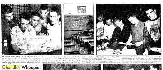 Coverage of the celebration of Chandler High School's lone sectional title in the Feb. 28, 1950 edition of the Evansville Press.