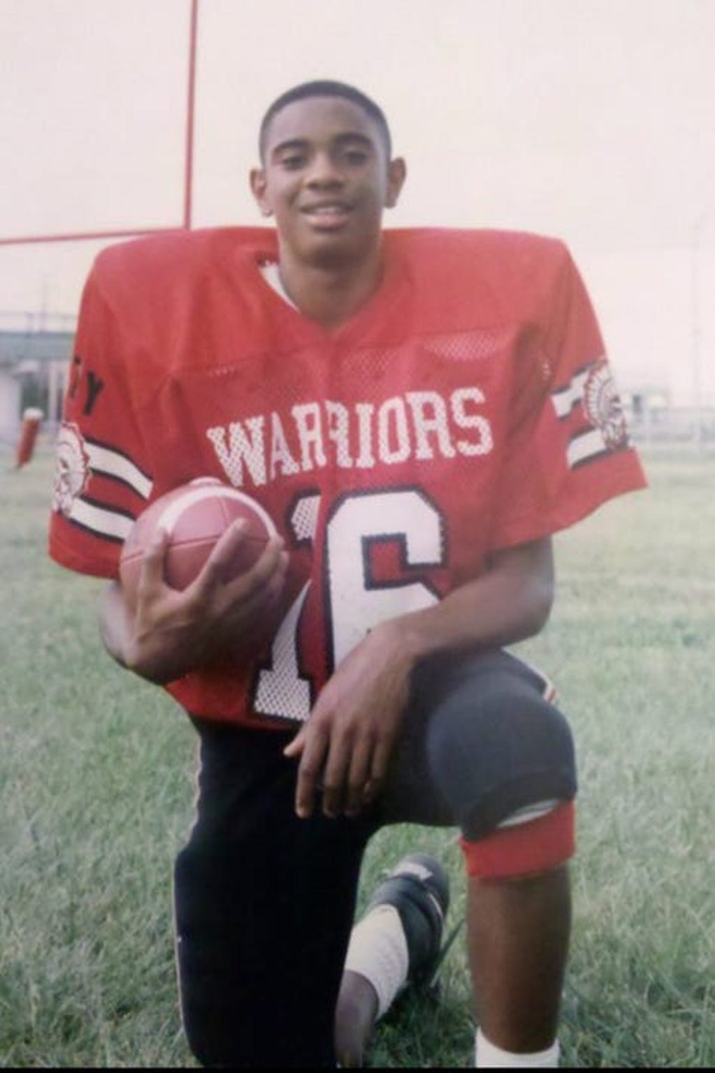 Keith Lander, shown here in his high school football days at Harrison, is Khristian's father.
