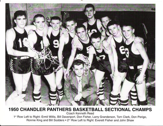 The 1950 Chandler High School basketball team. In front is coach Kenneth Reed. Front row, from left: Ermil Willis, Bill Davenport, Don Fisher, Larry Granderson, Tom Clark, Don Perigo, Ronnie King and Bill Sodders. Second row: Everett Fisher, left, and John Shaw.