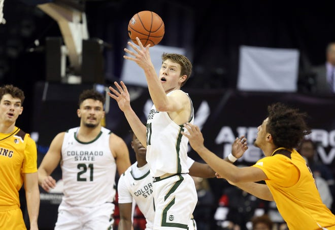 Colorado State's Adam Thistlewood (31) reaches for a loose ball during the second half of the team's Mountain West Conference tournament NCAA college basketball game against Wyoming on Wednesday, March 4, 2020, in Las Vegas.
