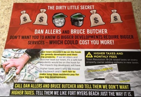 A mailer sent to Fort Myers Beach residents and obtained by The News-Press is pictured.