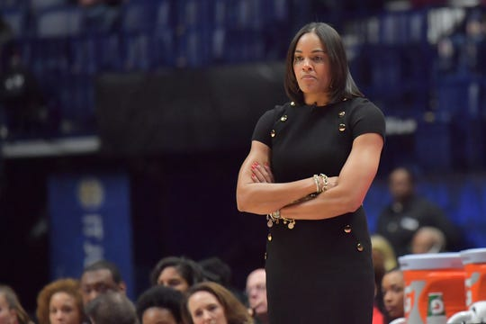 In this 2018 file photo, Georgia Bulldogs head coach Joni Taylor looks on during an SEC Tournament against the South Carolina Gamecocks.