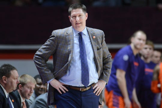 Mar 4, 2020; Blacksburg, Virginia, USA; Clemson Tigers head coach Brad Brownell looks on during the game against the Virginia Tech Hokies at Cassell Coliseum.