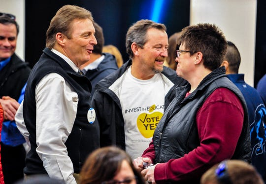Tom Moore, superintendent of Great Falls Public Schools, talks to Lynette Scriver-Colburn during a kickoff rally, at the Spring Hill Suites on Wednesday, for the 2020 GFPS operational levy that will be on the ballot in May.