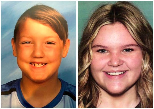 This combination photo of undated file photos released by National Center for Missing & Exploited Children show missing children, Joshua Vallow, left, and Tylee Ryan.