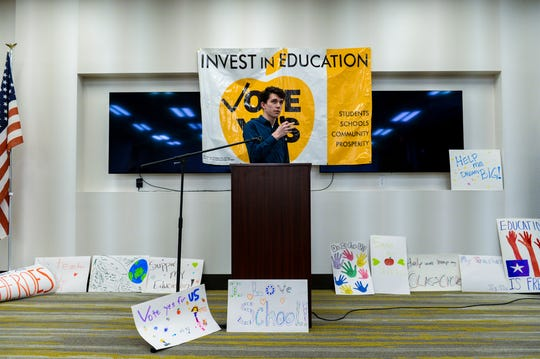 Turner Burchard, student body president at Great Falls High School, calls for action during the rally to kickoff the Great Falls Public Schools' 2020 operational levy campaign, Wednesday afternoon at Spring Hill Suites.