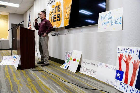 Brion Torgerson, a board member on the Great Falls Public Schools Foundation, speaks at the the rally kicking off the campaign for the Great Falls Public School's 2020 operational levy that will be on the ballot in May.